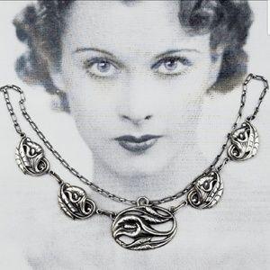 Vintage Sterling Danecraft Calla lily necklace